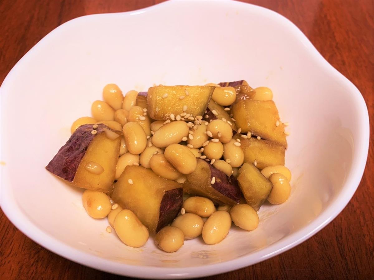 さつまいもと大豆の甘辛炒め